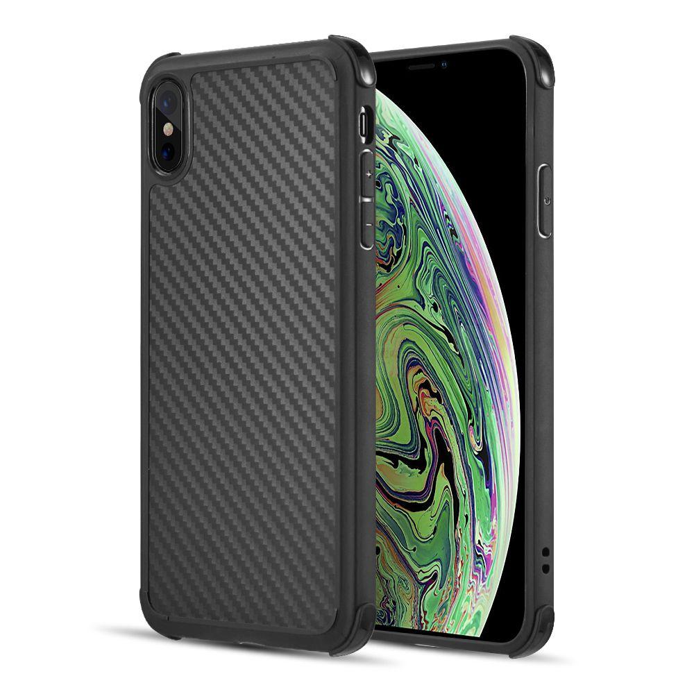 APPLE IPHONE XS MAX - LUXMO CARBON FLEX TRANSPARENT SOFT TPU CASE W/ SHOCK ABSORB CORNERS - BLACK
