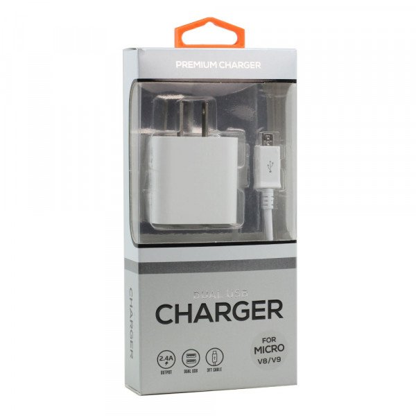 Micro V8V9 2.4A Dual 2 Port House Wall Charger 2in1 with 3FT USB (Wall - White)