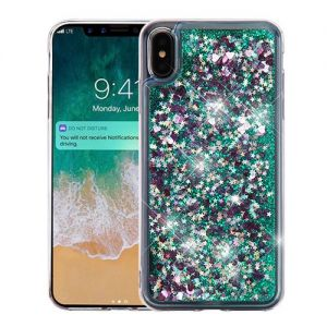 Apple Iphone Xs Max - Quicksand Glitter Hybrid Cover - Green / Hearts