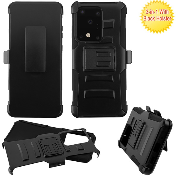 Armor Stand Protector Cover Combo (with Black Holster) for Samsung Galaxy S20 Ultra (6.9) - Black